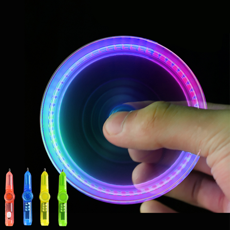 Interesting Toy Fingertip Rotating Spinner Gyro Toy Pen Led Luminous  Gyro Pen Office ADHD EDC Anti Stress Kinetic Desk Toy