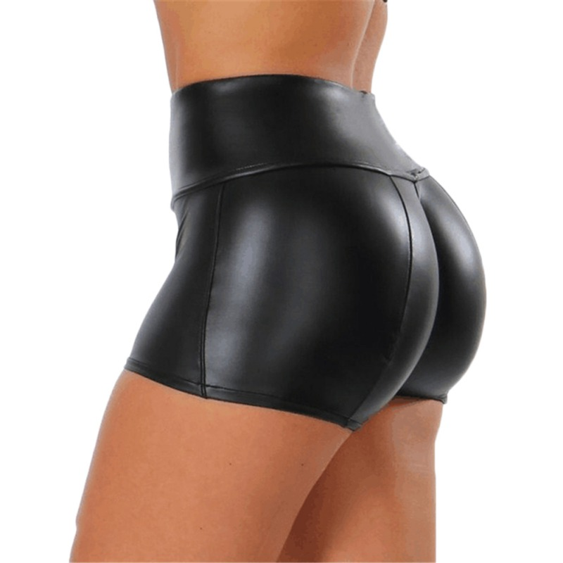 Wholesale Shorts Women Sexy Stretchy High Waist PU Leather College Skirt Solid Color Stitching Short