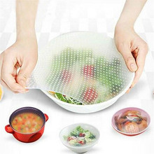 4Pcs/lot Reusable Silicone Wrap Seal Food Fresh Keeping Wrap Lid Cover Stretch Vacuum Food Wrap Bowl Cover Home Kitchen Tools silicone food wrap bowl pot cover stretch lid kitchen vacuum sealer