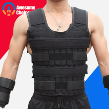 30KG Loading Weight Vest For Boxing Weight Training Workout Fitness Gym Equipment Adjustable Waistcoat Jacket Sand Clothing