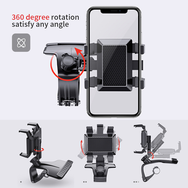 Voiture Support pour téléphone tableau de bord Support automatique téléphone Rotation de 360 degrés multifonctionnel Support de téléphone numéro de stationnement Gadget accessoires  