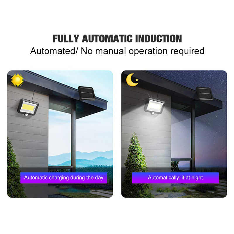 Cob 100 LED luz Solar al aire libre luz Solar de jardín PIR Sensor de movimiento dividido luz de pared solar focos de seguridad emergencia