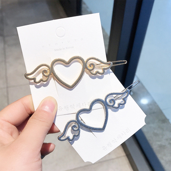 Net red sun department soft sister hollow out love angel wings metal hairpin girl side clip frog clip manufacturer acting hair image