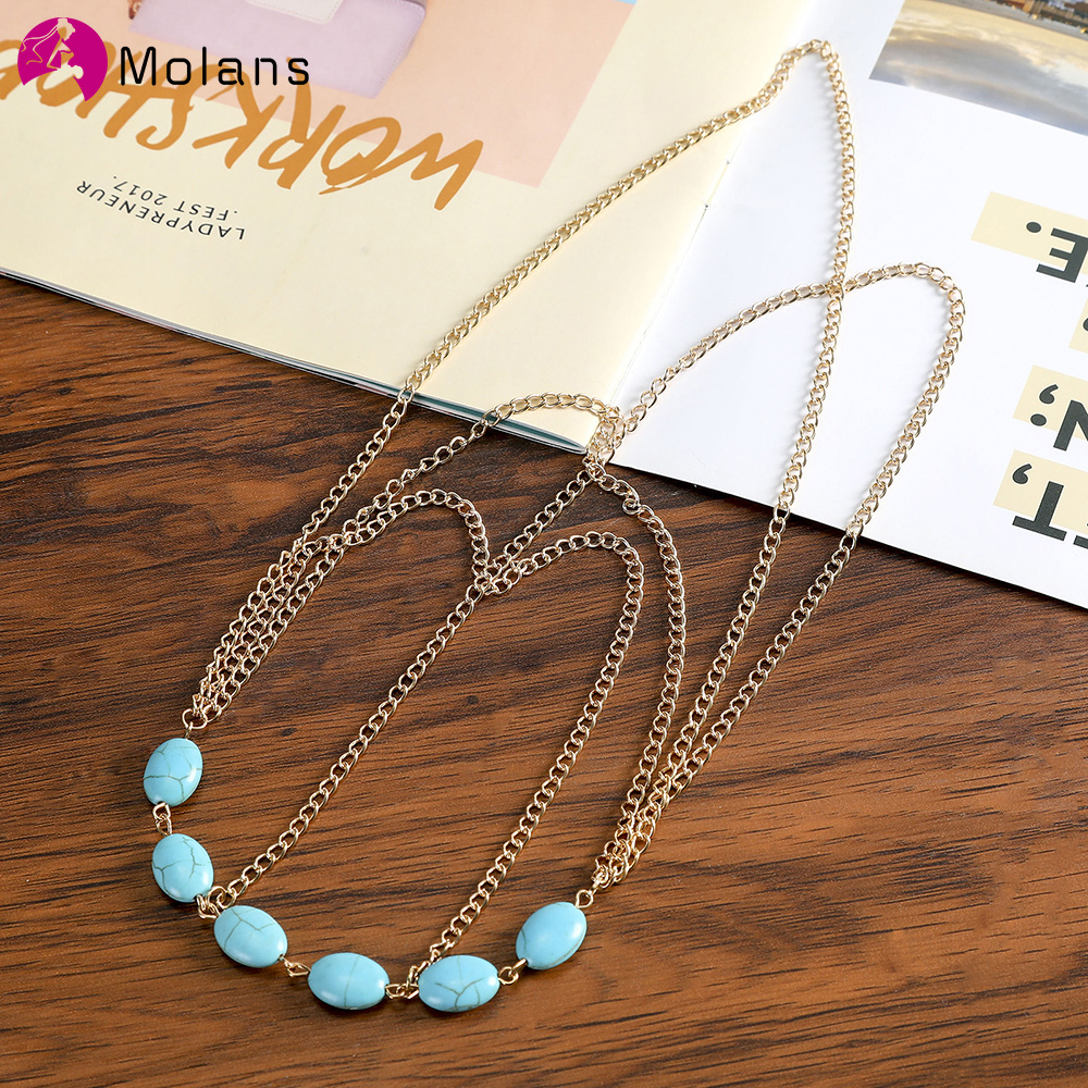 MOLANS 2020 Women's Turquoise Chain Hair Band Bohemian Wedding Metal Head Chain Adjustable Hair Accessories