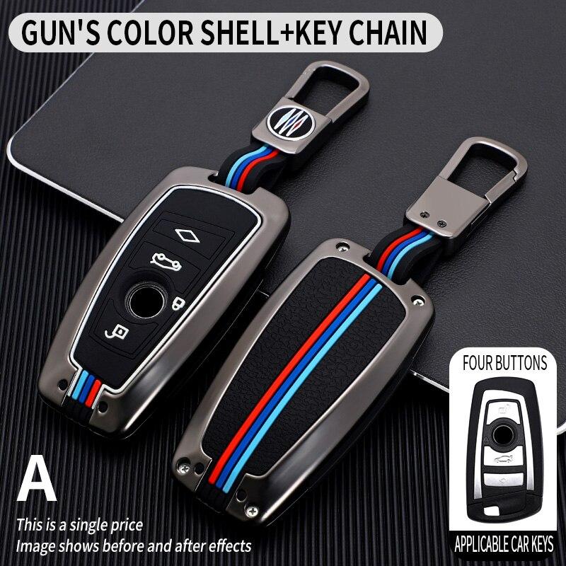 Galvanized Alloy Car Smart Key Fob Case SKin Cover for BMW 3 4 5 Series 320i 530i 550i F20 F21 F30 F31 F25 F01 F02 Car Key Case