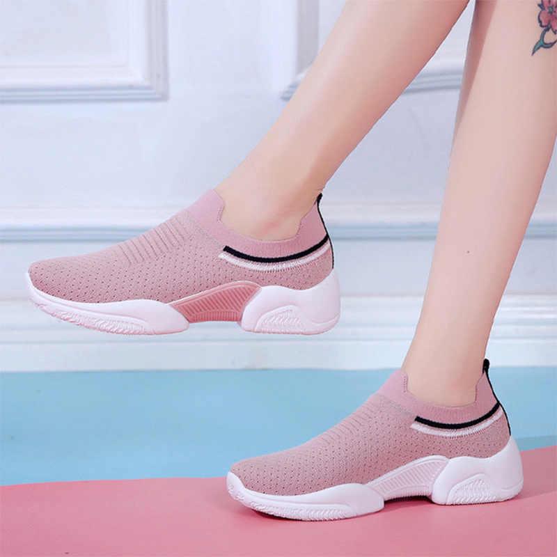 Dành Cho Nữ Giày Nữ Trơn Trượt Trên Giày Sneaker Đan Thoải Mái Chạy Giày Người Phụ Nữ Phẳng Nền Tảng Nữ Giày Mùa Xuân