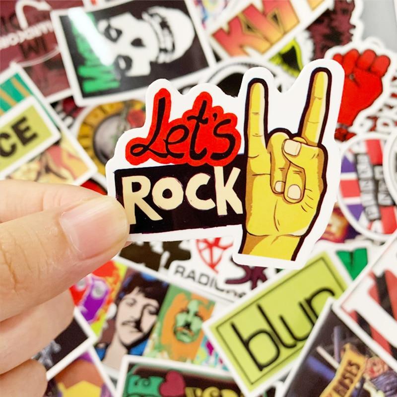 52pcs Pack Rock ROCK Punk Band Waterproof Removable Graffiti Handbook Sticker Skateboard Trolley Case Car Sticker Custom
