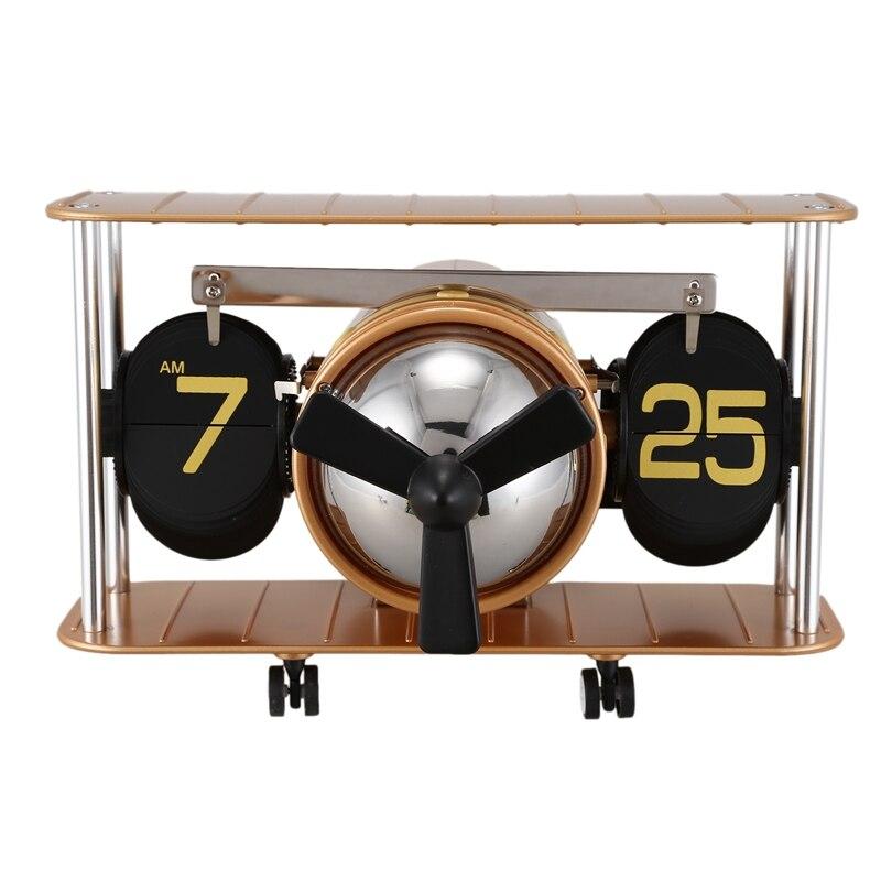 Bureau Table Page Interne Actionnée par Engrenage Horloge Nouveau Rétro Avion Hélice Hélice Rétro D'équilibre Automatique Horloge Flip