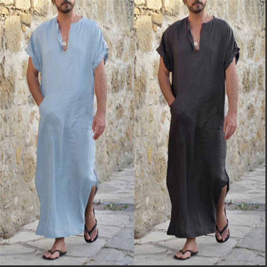 Saudi Arab Dubai Man Muslim Kaftan Thobe Middle East Turkish Islamic Traditional V-neck Cotton Jubba Robes Vintage Long Shirt