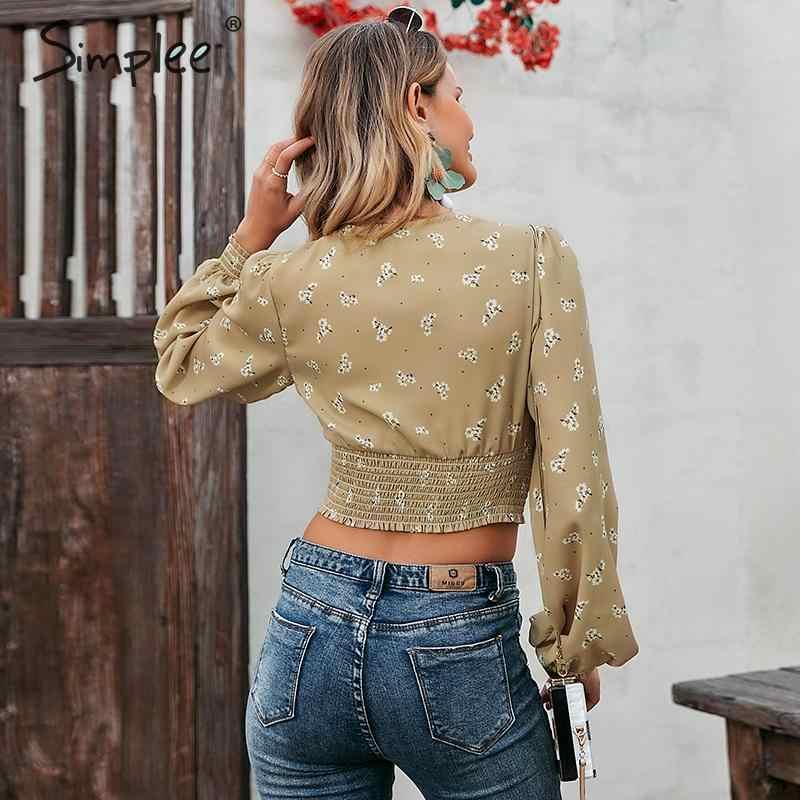 Simplee Sexy vintage été femmes blouse chemise vacances plage à manches longues col en v profond hauts courts décontracté à fleurs blusas mujer 2020