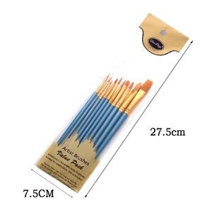 Image 2 - 10 יח\סט ניילון שיער צבע מברשת שונה גדלים שמן צבעי מים ציור אמנות מברשת ציור אספקת חומרים