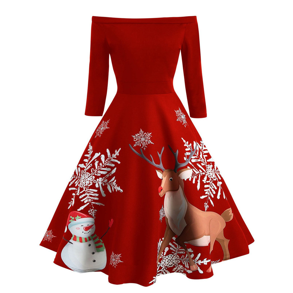 New Christmas Dresses Women Off Shoulder Print Evening Party Dress Vintage Half Sleeve Flare Dress Winter Female Dress Vestidos