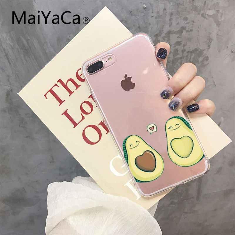 Maiyaca dos desenhos animados bonito abacate tpu macio silicone caso de telefone para iphone 8 7 6 s plus x xs max 5 5S se xr 10 fundas capa