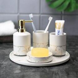 Ceramiczny imitacja marmuru zestaw akcesoriów łazienkowych narzędzia do mycia butelka kubek do płukania ust mydło uchwyt na szczoteczki do zębów artykuły gospodarstwa domowego