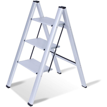 Step Ladder Folding Multi-Use Aluminum 3 with Anti-Slip Wide-Pedal Lightweight 2-In-1