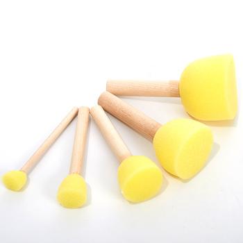 5 sztuk okrągłe gąbki zestaw pędzelków wzornik szczotki z gąbki ręcznie malowany obrazek gąbki dzieci rysunek Craft pędzle do makijażu z drewna uchwyt tanie i dobre opinie JETTING CN (pochodzenie)
