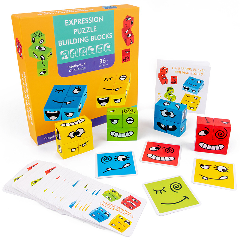 Вечерние игры для детей, развивающие пазлы, строительные блоки, деревянные бумажные карты, раннее образование, игрушки для детей, интеллект...