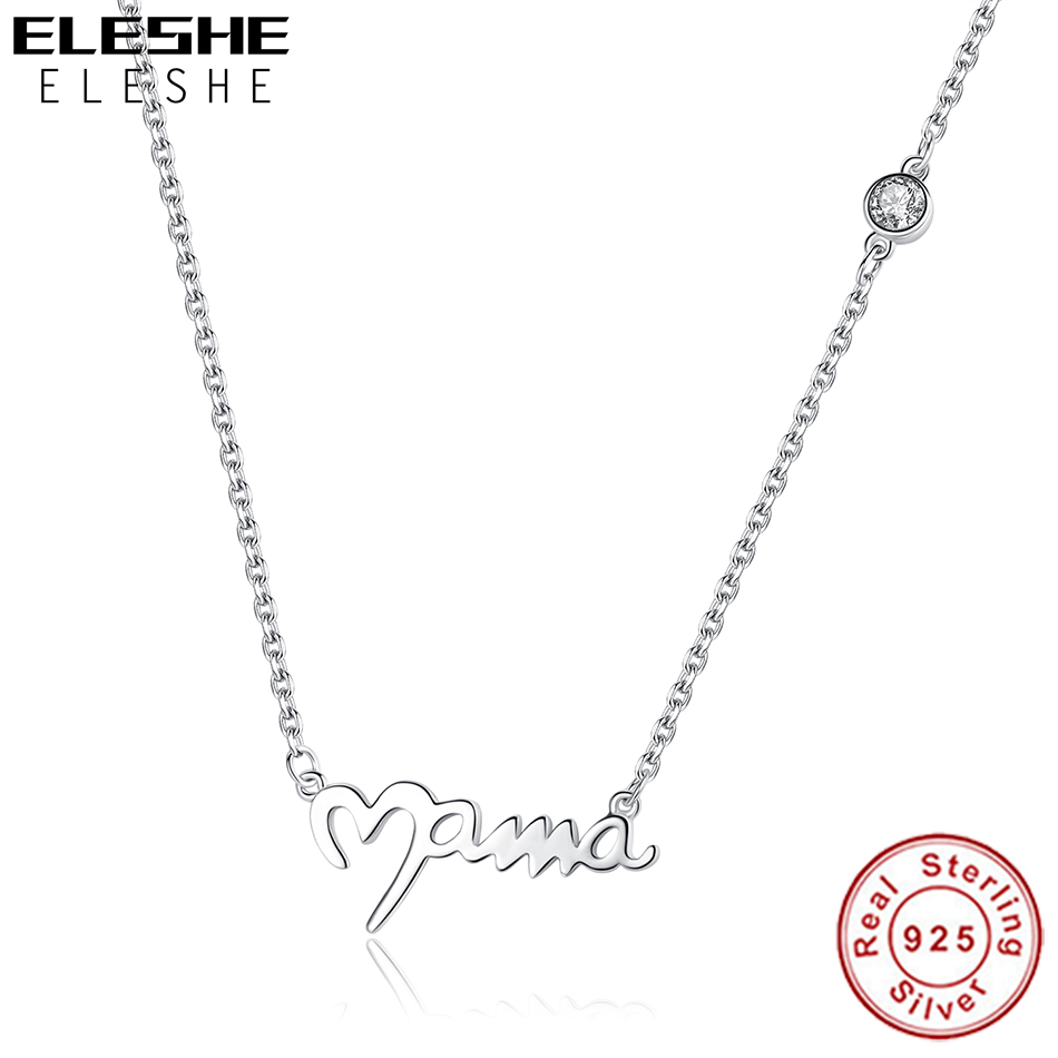 ELESHE Forever Love Mama Tiny Heart Pendant Necklaces 925 Sterling Silver Chain Necklace For Women Mother Christmas Jewelry