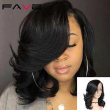 FAVE Lace Front Natural Wave Side Part Wig Natural Black For