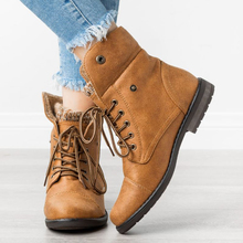 Women's Cuff Combat Boots Ankle Boots Winter Snow Boots New Chic High  Boots Platform  Casual Ladies Shoes Pu Leather D20