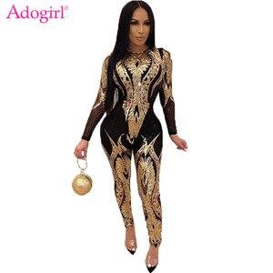 Женский сетчатый комбинезон Adogirl, облегающий сетчатый комбинезон с цветочным принтом, блестками, круглым вырезом и длинными рукавами, вечер...