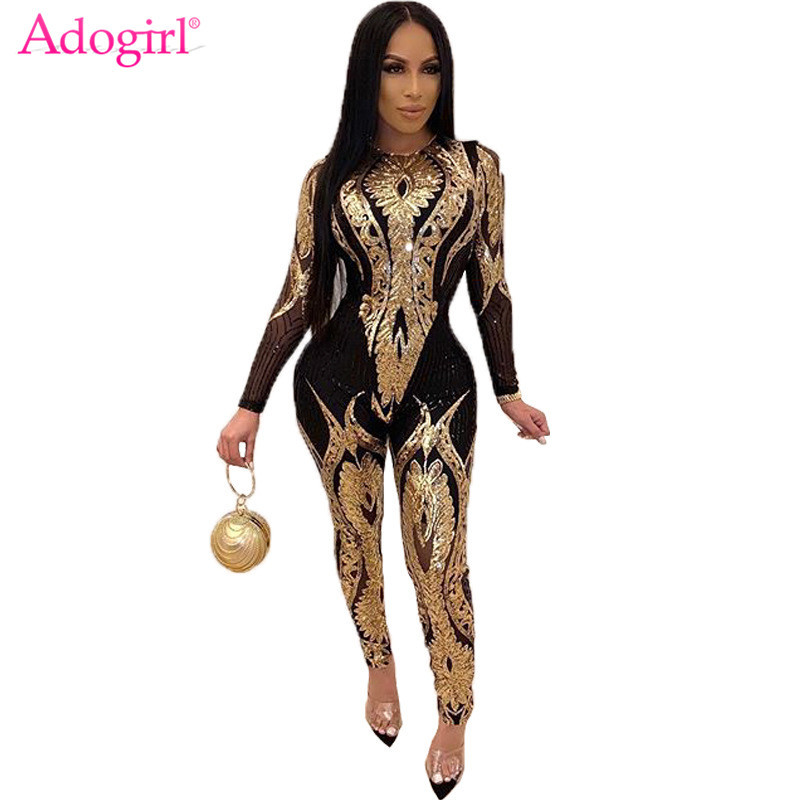 Adogirl Gorgeous Floral Sequins Sheer Mesh Jumpsuit O Neck Long Sleeve Skinny Romper Women Fashion Night Club Party Overalls