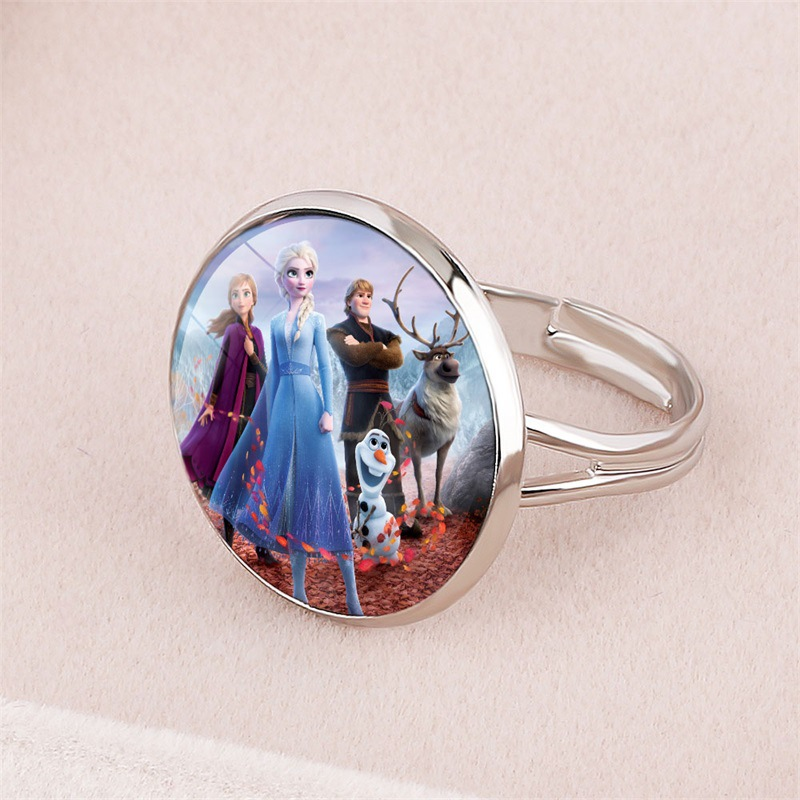 Disney Frozen 2 Ring Cartoon Image Elsa Princess Anna Jewelry Opening Adjustable Children's Bracelet  Gifts For Girls