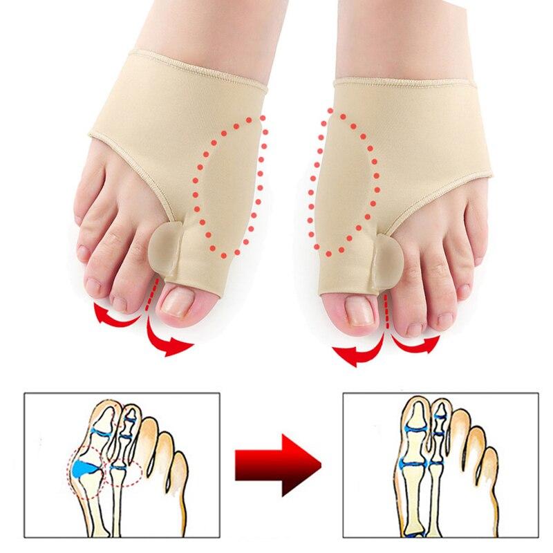 2 шт = 1 пара разделитель пальцев ног вальгусная деформация, корректор ортопедический для ног, корректор кости большого пальца, коррекционный носок для педикюра, выпрямитель - Цвет: 1pair