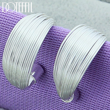 DOTEFFIL 925 Sterling Silver Multi-Line Hoop Earrings For Women Wedding Engagement Party Jewelry nasia jewelry 925 sterling silver mystery rainbow crystal earrings for women girl ear hook style earrings engagement party decor