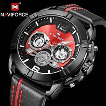 цена на Brand Luxury Men Watches NAVIFORCE Fashion Leather Quartz Watch Military Chronograph Sports Wristwatch Clock Relogio Masculino