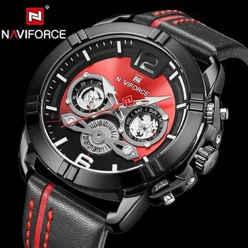 Brand Luxury Men Watches NAVIFORCE Fashion Leather Quartz Watch Military Chronograph Sports Wristwatch Clock Relogio Masculino naviforce mens watches top brand luxury analog quartz watch men leather chronograph sports military watches relogio masculino