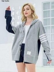 2020 frauen mit kapuze patchwork sweatshirts mode zip-up hoodies frauen lose stil gefärbt baumwolle sport jacke dame