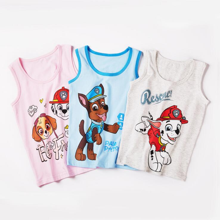 1PC 2020 New Original Paw Patrol Underwaist 100% Cotton Vest Singlet Chase Marshall Skye Rubble Doll Children Birthday Gift Hot
