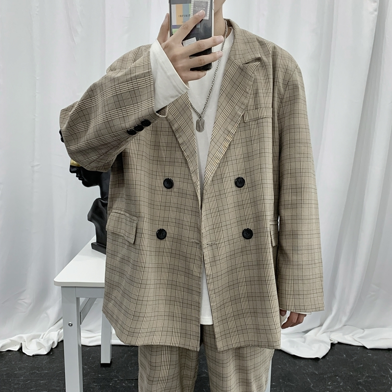 EWQ / Men's Wear 2020 Spring New Lattice Casual Suit For Male Loose Chic Vintage Oversize Blazers Korean Style Coat 9Y1274