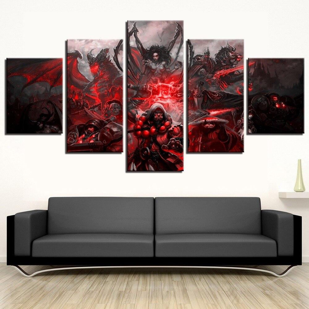 Impresión HD 5 piezas Juego de mundo de W cartel de pintura de la lona de arte de pared imagen salón de Decoración de casa d