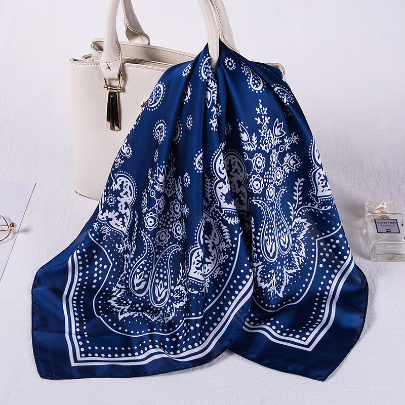 2020 New Women <font><b>Silk</b></font> <font><b>Scarf</b></font> <font><b>70cm</b></font> Square Hair Band Neck Wraps Women Foulard Neckerchief Print Satin <font><b>Scarves</b></font> for Bag Tie image