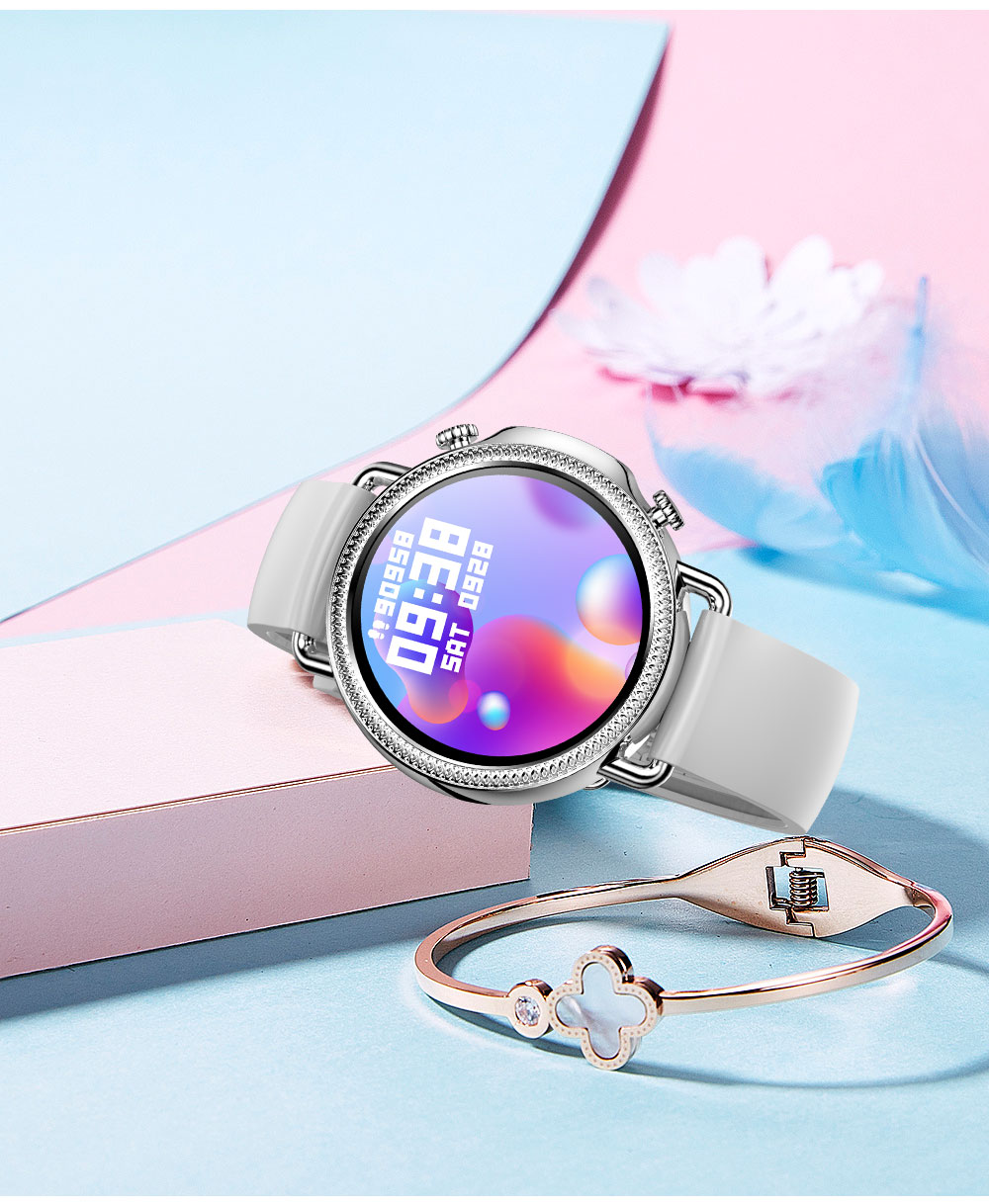 He29de6d329e945fabd35d0e5dc184c4ds 2021 Women Smart Watch 1.28 inch HD Screen IP67 Waterproof Lady's Watches Body Temperature Heart Rate Monitor PK V23