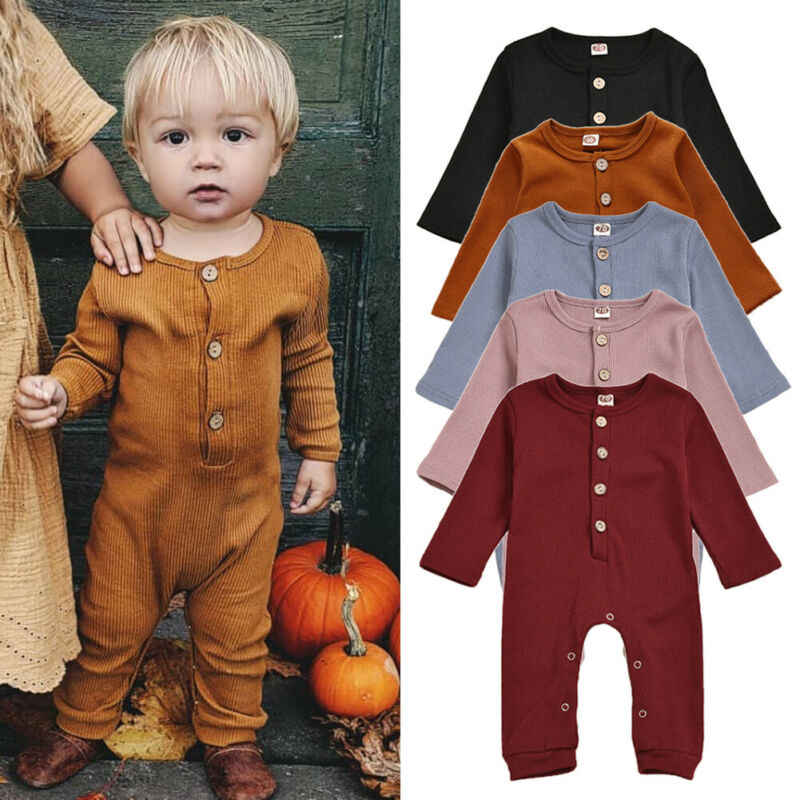 Toddler Kids Baby Girl Boy Autumn Winter Warm Button Knitted Romper Jumpsuit One Pieces Clothes Candy Color Cute 0-24Month