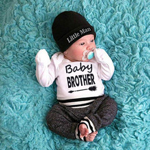 1Cute Baby Boy Clothes 0-18M New Autumn Casual Fashion Baby Letter Printing And Trousers And Hat Kids Three-piece Outfit Set 2019 new boy clothes shirt sweater baby clothes fashion trousers kids vest trousers three piece suit baby leisure kids clothing