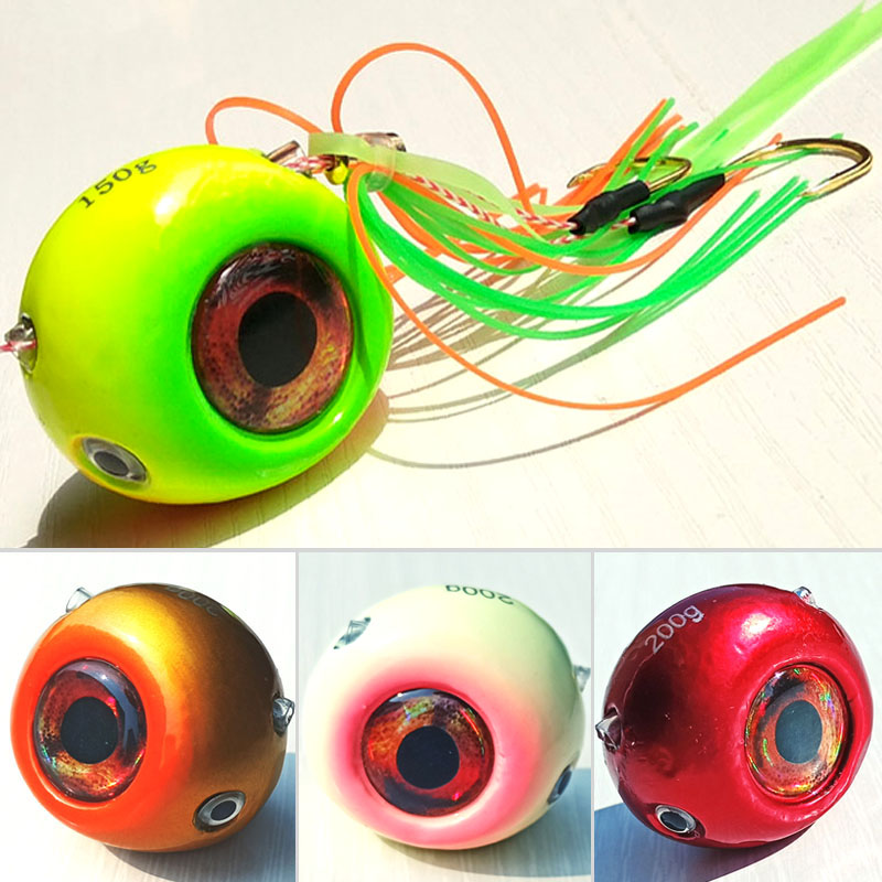 250g/200g/150g/120g/100g/80g/60g/40g Kabura Pesca Slider Snapper/Sea Bream Jig Head With Skirt  Lead Jig Jigging Lure