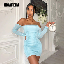 Higareda 2020, голубое сексуальное мини-платье с вырезом лодочкой и длинными рукавами, с рюшами, Осень-зима, женская модная уличная одежда, вечерни...