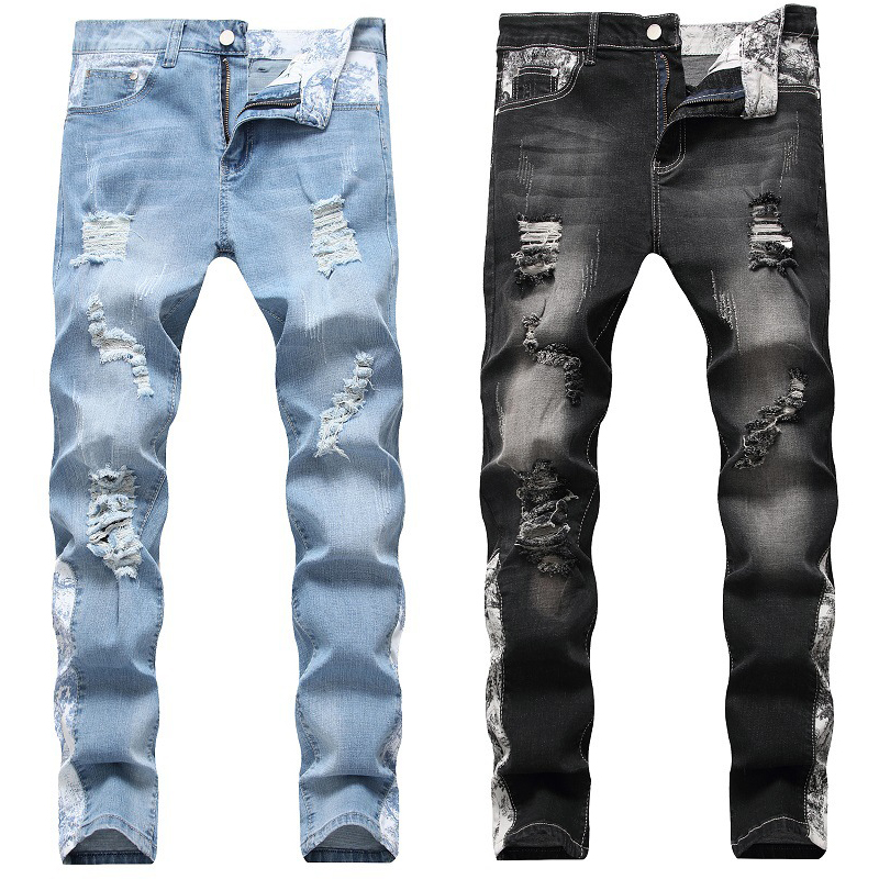 Men's Jeans Fashion New Autumn And Winter Holes Jeans Straight Stretch Jeans Trend Men's Pants Jeans Trousers
