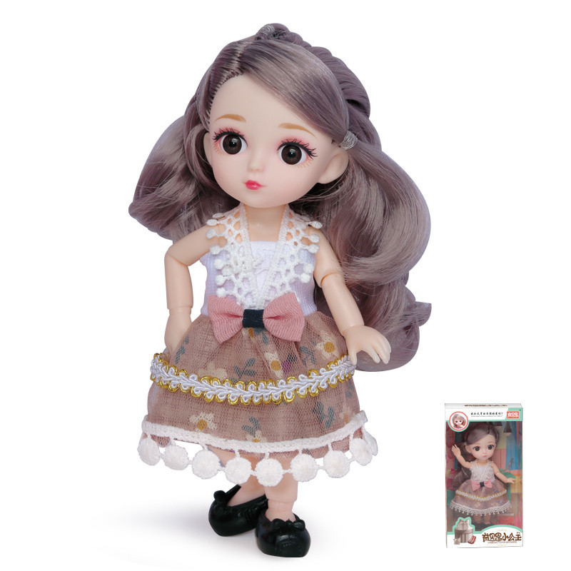 16cm 1/12 3D Eyes Cute Doll 12 Movable Jointed Body BJD Dress Up Dolls Set Toy For Girl Gift
