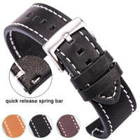 HENGRC Cowhide Genuine Leather Watchband Belt 18 20 22 24mm Men Women Thick Handmade Retro Watch Band Strap Metal Buckles