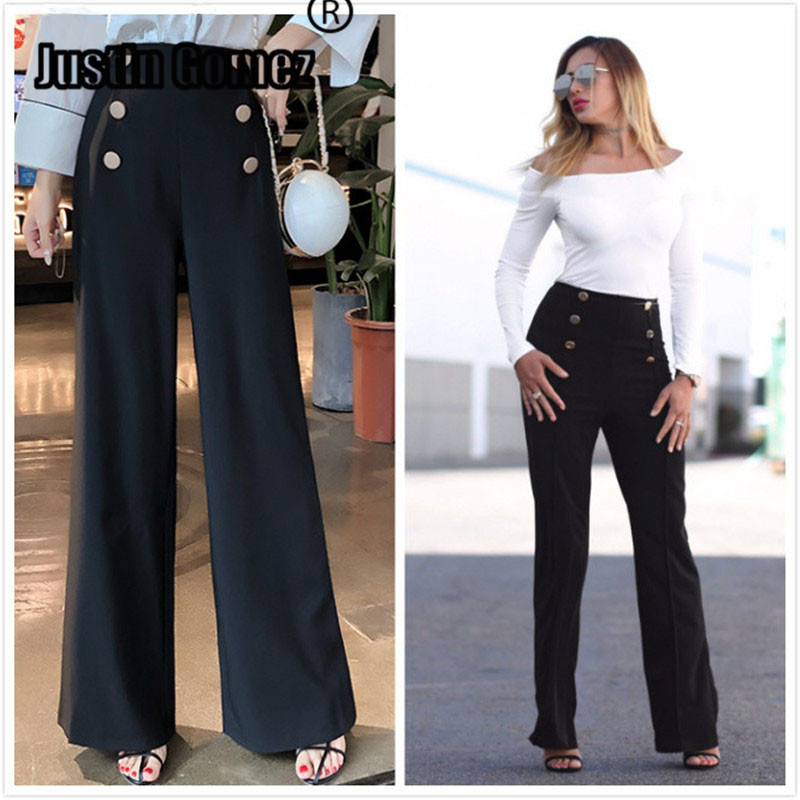 High waist Fashion Ladies Stylich Buttons Trousers Classic s female streetwear capris summer pants