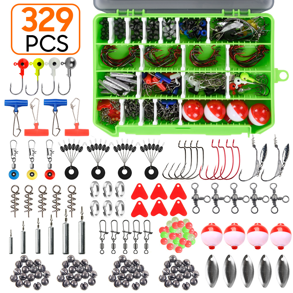 329pcs/box Fishing Accessories Set For Carp Pike Saltwater Lake Sinker Weight Float Spoon Spinner Snap Tackles Box Kit Lure Bait|Fishing Tackle Boxes| - AliExpress