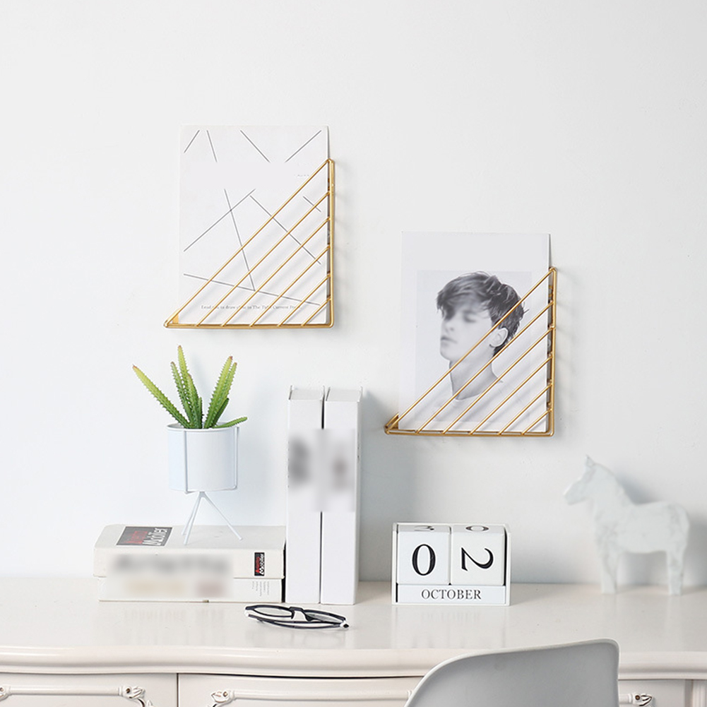 Decorative Iron Structure Simple Triangle Space Saving Book Shelf Storage Magazine Home Wall Mounted Living Room Hanging
