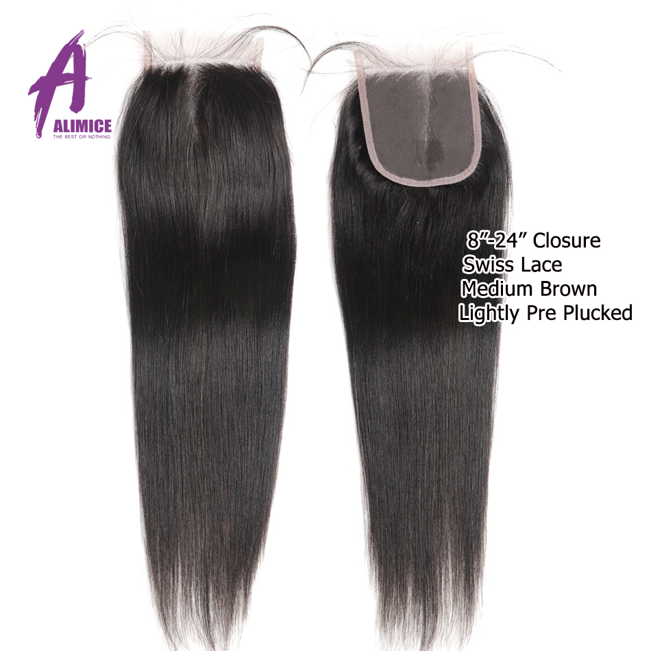 8-30 Inch Bundles With Closure Indian Straight Human Hair Bundles With Closure Alimice Long Hair Weave Bundles With Closure Remy