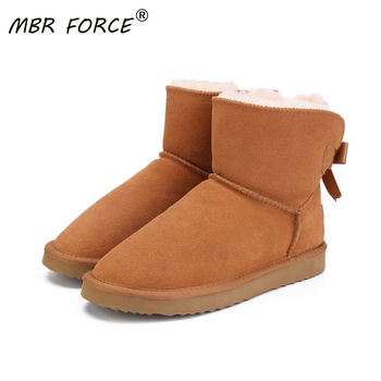 MBR FORCE Fashionable Women Warm Snow Boots Winter Boots Genuine Cowhide Leather Women Boots Ankle Boots Fur  Shoes Size 34-44 genuine leather women ankle boots 2016 new winter autumn warm fur shoes plus size 35 46 work safety boots