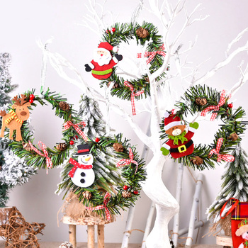 13cm Mini Christmas Wreath Garland Xmas Tree Pendant Door Hanging Ornaments Christmas Decorations for Home Navidad New Year 2021 недорого